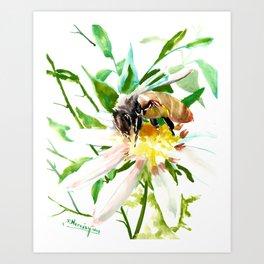 Bee and Flower, Honey Bee, chamomile herbal honey design Art Print