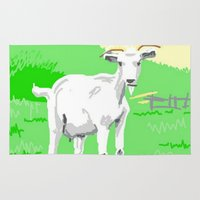 goat Area & Throw Rugs featuring Goat by wingnang