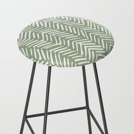 Boho, Abstract, Herringbone Pattern, Sage Green and White Bar Stool