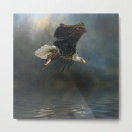 Bald Eagle Fishing Metal Print