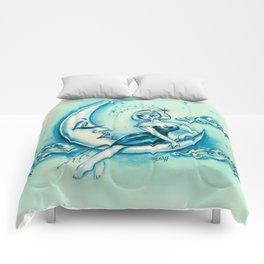 Girl on the Moon Comforters