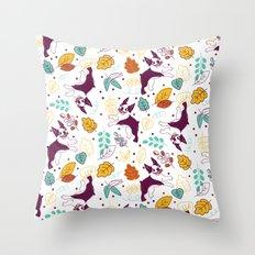 Happy Fall, Dogs! (Boston) Throw Pillow