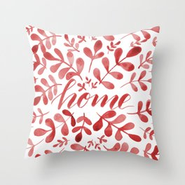 Watercolor home foliage – red Throw Pillow