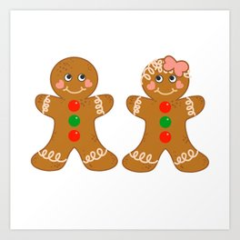Gingerbread Couple Boy Girl Art Print