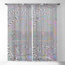 Trippy Whirlpool of Optical Illusions and Holographic Peacock Feathers Sheer Curtain