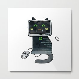 Programmer cat  makes a website Metal Print