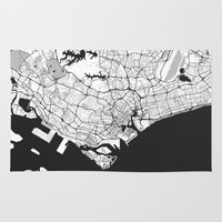 singapore Area & Throw Rugs featuring Singapore Map Gray by City Art Posters