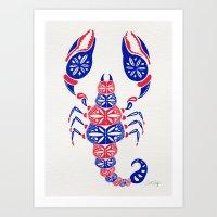 patriotic Art Prints featuring Patriotic Scorpion by Cat Coquillette