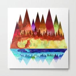 Mountains Spirit (fox) Metal Print