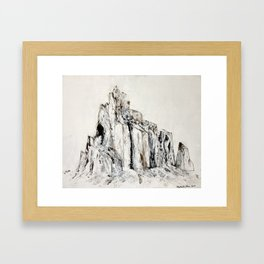 Abstract Landscape Painting Shiprock black white geometric Framed Art Print