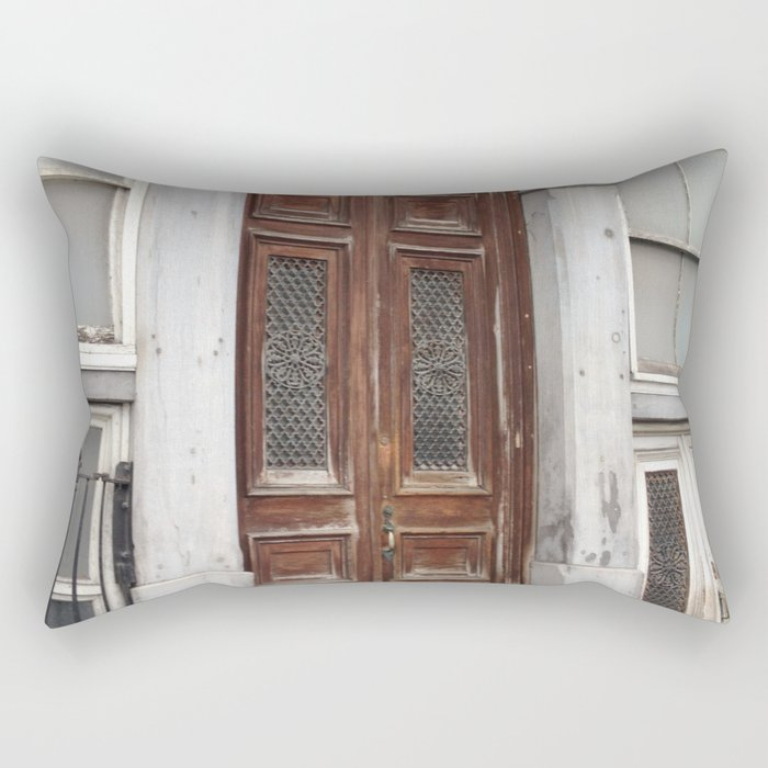 Architectural Weathered Door Old Montreal Rectangular Pillow