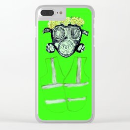 Gas Mask with flowers and Yellowvest Clear iPhone Case