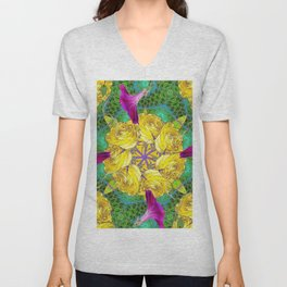 MYSTIC YELLOW ROSES MORNING GLORIES GREEN ART Unisex V-Neck
