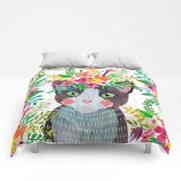 Cat with flowers Comforters