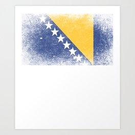 Bosnia Flag Flag Herzegovina Art Print