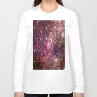 galaxy Long Sleeve T-shirts featuring Galaxy : Coral Gold Eagle Nebula by GalaxyDreams