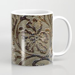 Olive & Brown Tooled Leather Coffee Mug