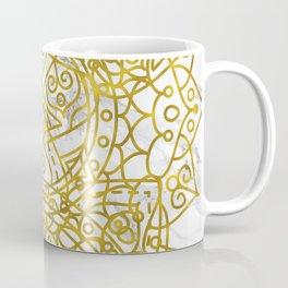 Golden Ornamental Mandala on White Marble Coffee Mug