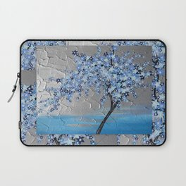 blue cherry blossom with silver grey gray white tree trees japanese japan beautiful prints Laptop Sleeve