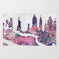 new york skyline Area & Throw Rugs featuring New York Skyline + Map by Map Map Maps