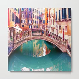 Small Bridge in Venice Metal Print