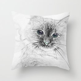 Siberian Kitty Cat Laying on the Marble Slab Throw Pillow