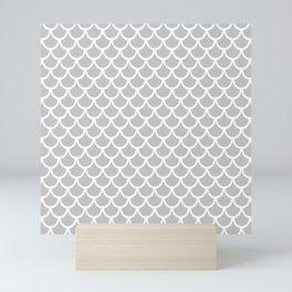 Scales (White & Gray Pattern) Mini Art Print