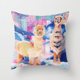 Puffy Dreams (alpaca and llama) Throw Pillow