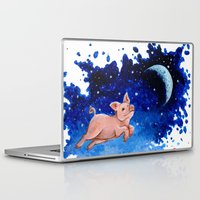 pigs Laptop & iPad Skins featuring 3 Pigs by Priscilla George