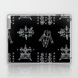 Papa Legba + Baron Samedi + Gran Bwa + Damballah-Wedo Voodoo Veve Symbols in Black Laptop & iPad Skin