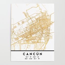 CANCUN MEXICO CITY STREET MAP ART Poster