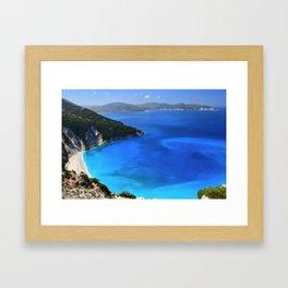 myrtos beach, kefalonia Framed Art Print