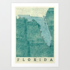 Florida State Map Blue Vintage Art Print