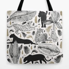 Wild Cats and Botanicals Tote Bag
