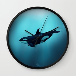 """Lost in Serenity"" by Amber Marine ~ Orca / Killer Whale Art, (Copyright 2015) Wall Clock"