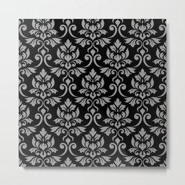 Feuille Damask Pattern Gray on Black Metal Print