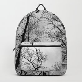 Creepy black and white trees Backpack