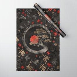 Enso Circle Bonsai Tree on Zen Symbol pattern on black Wrapping Paper