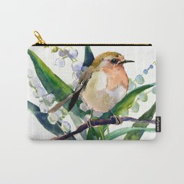 Robin Bird and Lilies of Valley Flowers Carry-All Pouch