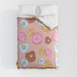 Donut pattern - pink background Comforters