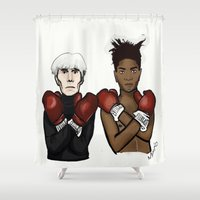 basquiat Shower Curtains featuring Warhol Basquiat by Mackenzie Mauro