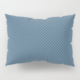 Linen White Angled Grid Line Pattern On Blue Pairs To 2020 Color of the Year Chinese Porcelain Pillow Sham