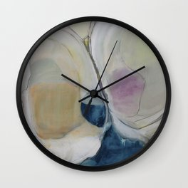 quahog shells - abstract painting in modern fresh colors navy, pink, cream, white, and gold b Wall Clock