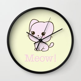 Pastel Kitten Kawaii Wall Clock