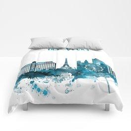 Las Vegas Monochrome Blue Skyline Comforters
