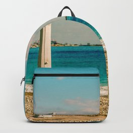 Seacoast of Cagnes-sur-Mer in a sunny winter day Backpack