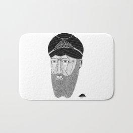 Sikh Guru with Fully Sick Beard and Bejeweled Turban Bath Mat