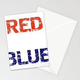 Patriotic Red Wine and Blue Stationery Cards