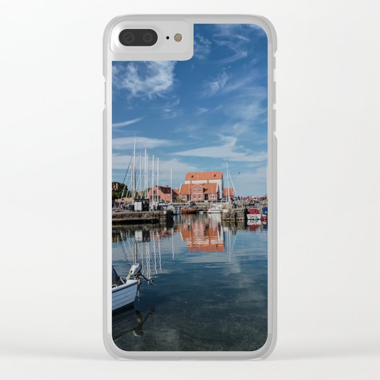 Nordish harbour - Marina at the Sea Bornholm Island Sky Clouds #Society6 Clear iPhone Case