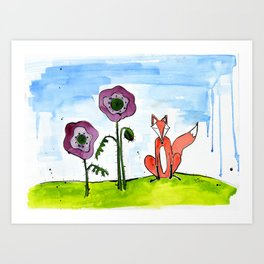 Fox with Poppies Art Print
